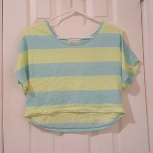 Ardene - blue and yellow stripped crop top